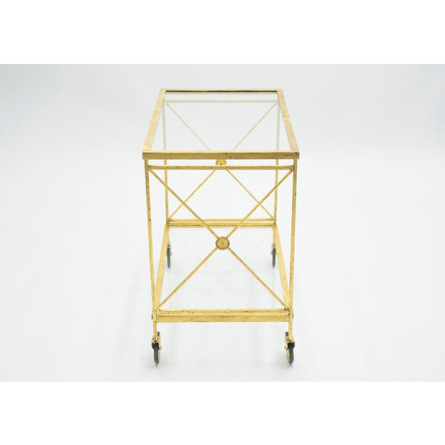 Maison Jansen French Neoclassical Maison Jansen Gilded Iron Bar Cart 1960s For Sale - Image 4 of 12