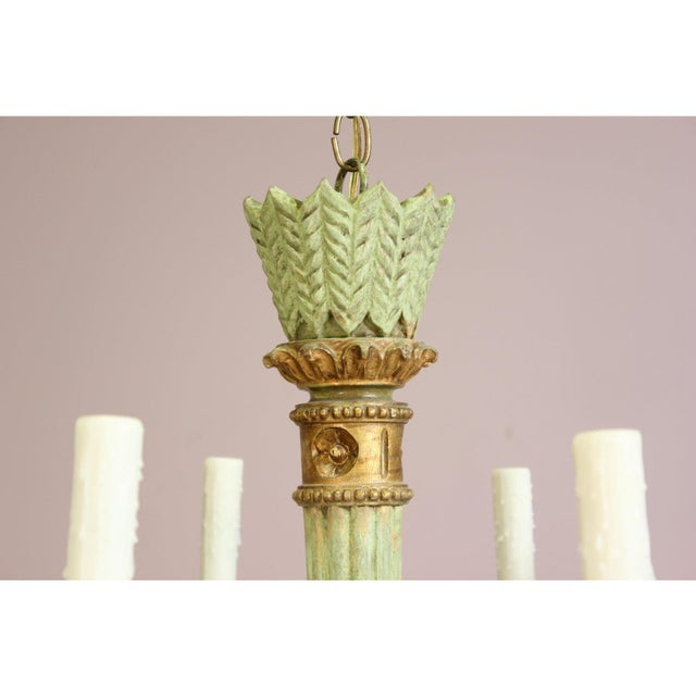 French Italian 1960s Vintage Painted and Parcel-Gilt Chandelier For Sale - Image 3 of 9