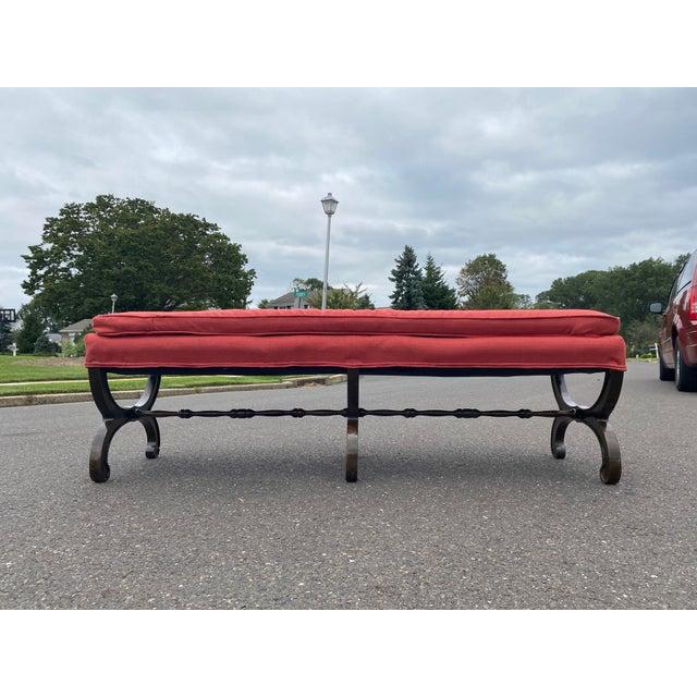 Nice solid long Walnut bench by John Widdicomb very unique
