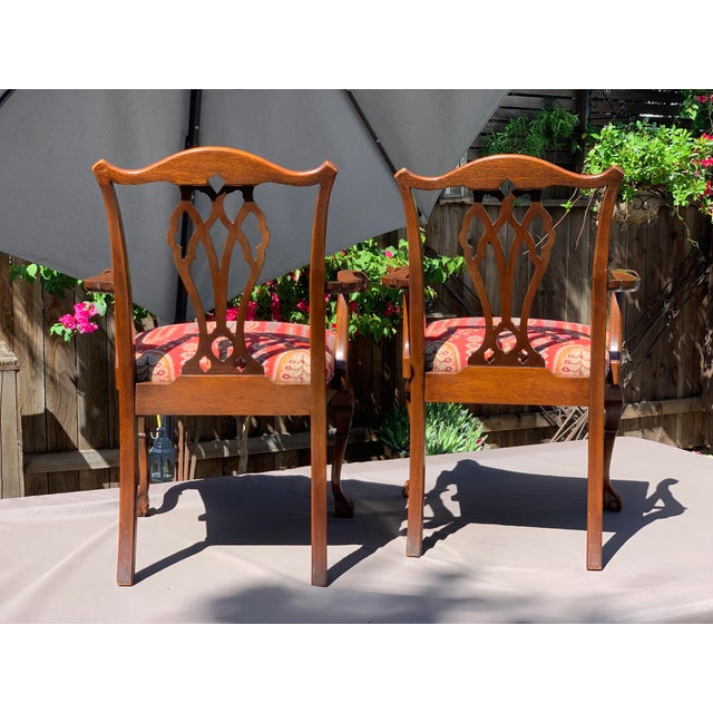 1950s Vintage Mahogany Chippendale Designer Arm Chairs- A Pair For Sale - Image 4 of 11