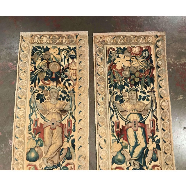 Called portieres, these antique wall hanging tapestries were hand woven in Belgium, circa 1760. They both feature...