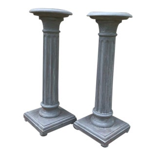 Traditional Wood Columns Hand-Painted in Gray - A Pair For Sale