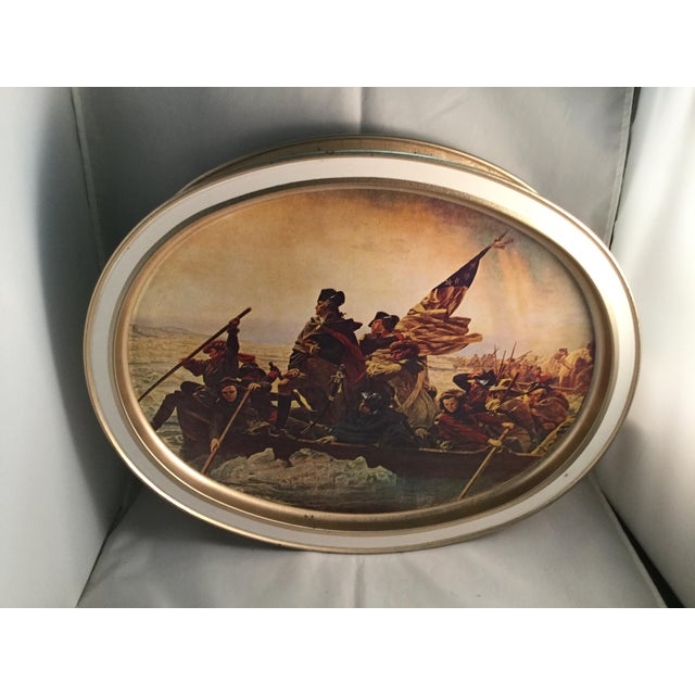 American Washington Crossing the Delaware Decorative Biscuit Container For Sale - Image 3 of 11