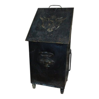 Antique Tole Fireplace Coal Box For Sale