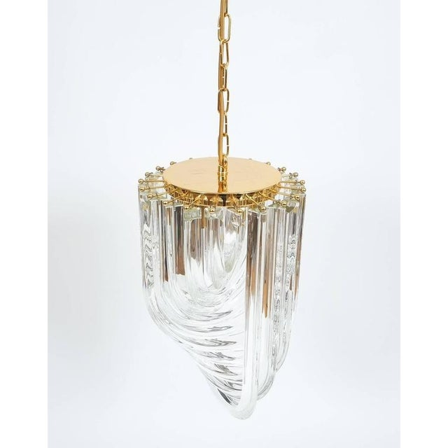 Gold Venini Curved Crystal Glass Gilt Brass Chandelier For Sale - Image 8 of 9