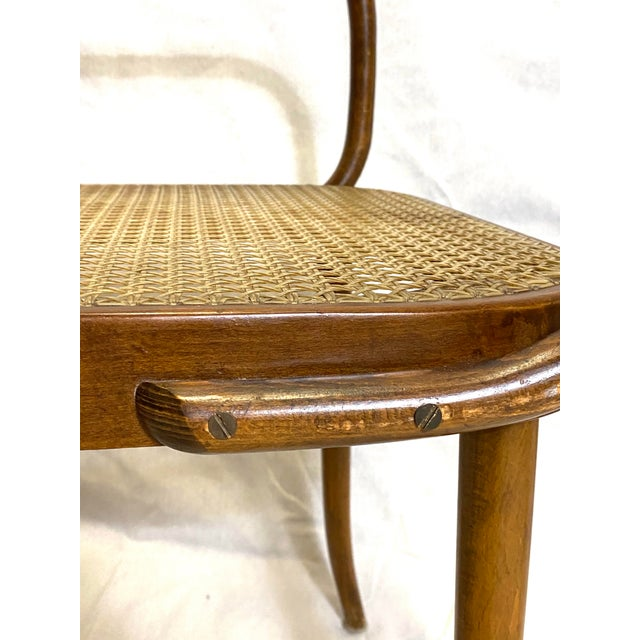 Rare Antique Stendig Set of 4 Bentwood French Stitched Nylon Cane Wood Dining Chairs For Sale - Image 11 of 13