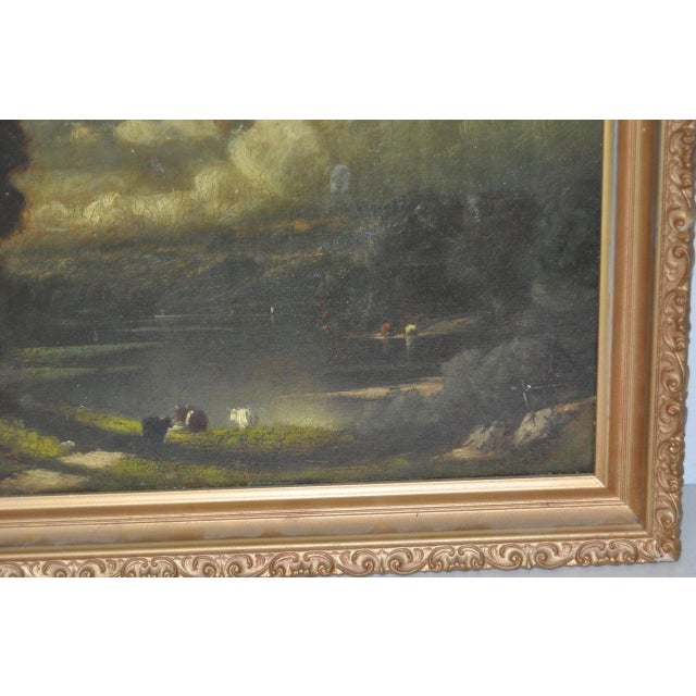 19th C. Country Landscape w/ Cows & Figure For Sale - Image 5 of 9