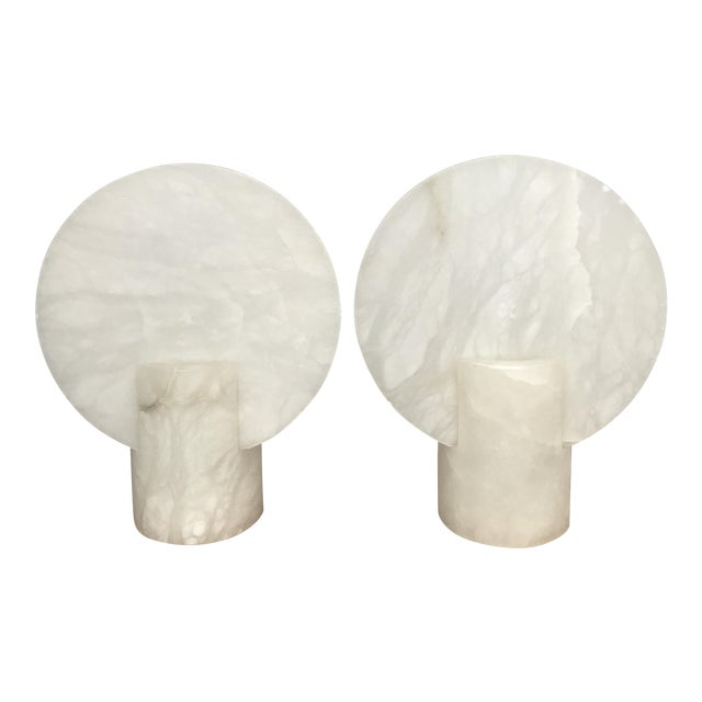 Modern Alabaster Table Lamps Sconces - a Pair - Image 1 of 6