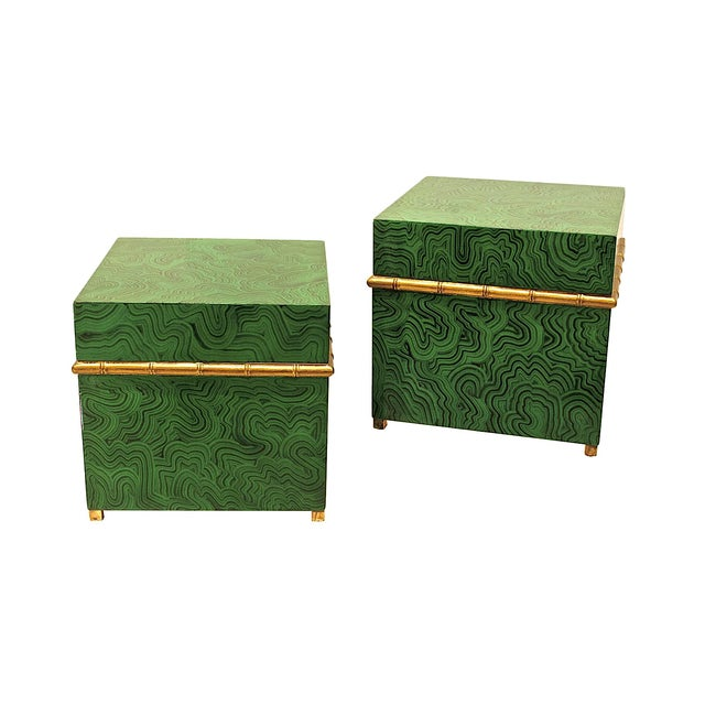 Green Faux Malachite Boxes - a Pair For Sale - Image 8 of 11