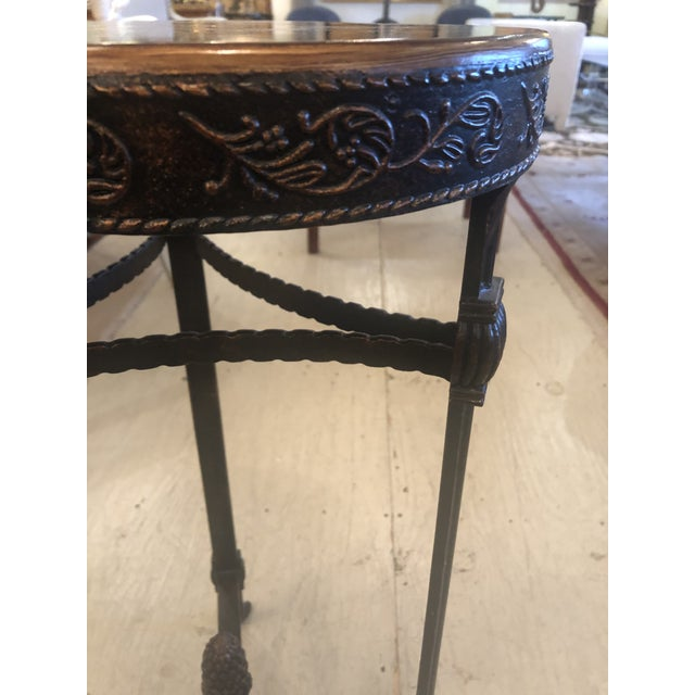 Traditional Shamrock Shaped Wood and Metal End Table With Floral Decoration For Sale - Image 3 of 8