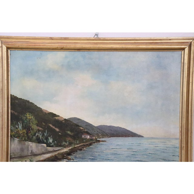 Illustration 20th Century Oil Painting on Canvas Signed Landscape of the Italian Coast For Sale - Image 3 of 9