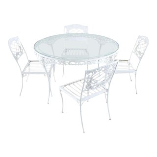Brown Jordan Aluminum Neoclassical Patio Garden Dining Set - Set of 5 For Sale