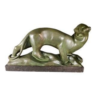 Jean Canneel Art Deco Belgian Cubist Panther Sculpture For Sale
