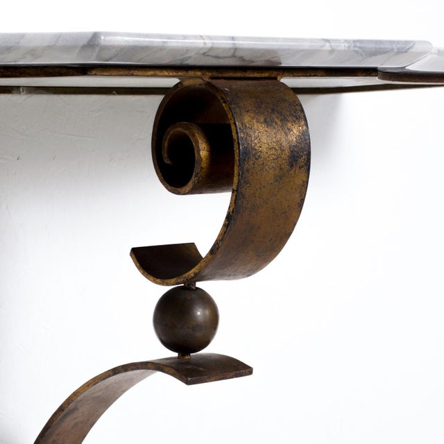 Neoclassical Mexican Modernist Iron-Marble Wall Console Attr. Arturo Pani For Sale In San Diego - Image 6 of 10
