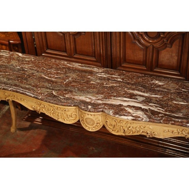Wood 19th Century French Louis XV Carved Oak Serpentine Console Table With Marble Top For Sale - Image 7 of 9