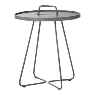 Cane-Line On-The-Move Side Table, Small, Light Grey For Sale