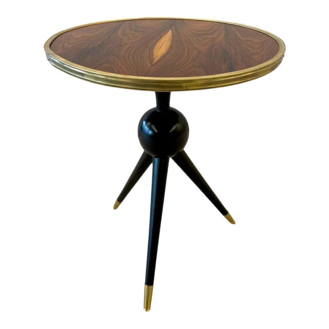 Mid-Century Modern Style End / Lamp Table Ebony Bronze Base and Rosewood For Sale