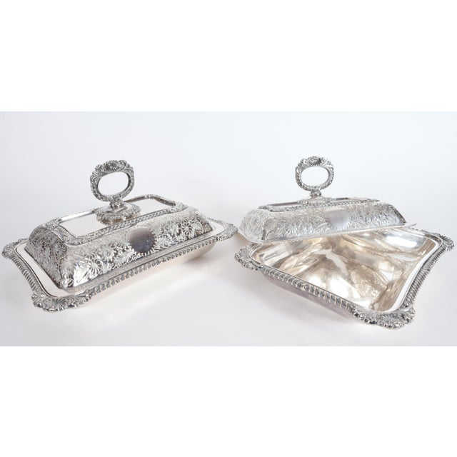 English Silver Plated Tableware Serving Dishes (2 Available) For Sale - Image 10 of 12