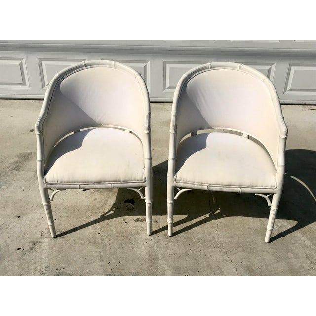 1970s Vintage Faux Bamboo Upholstered Chairs - a Pair For Sale - Image 12 of 12