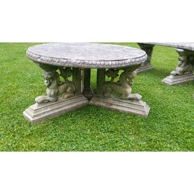 French Rococo Lion Coffee Table Patio Cement - Image 2 of 6