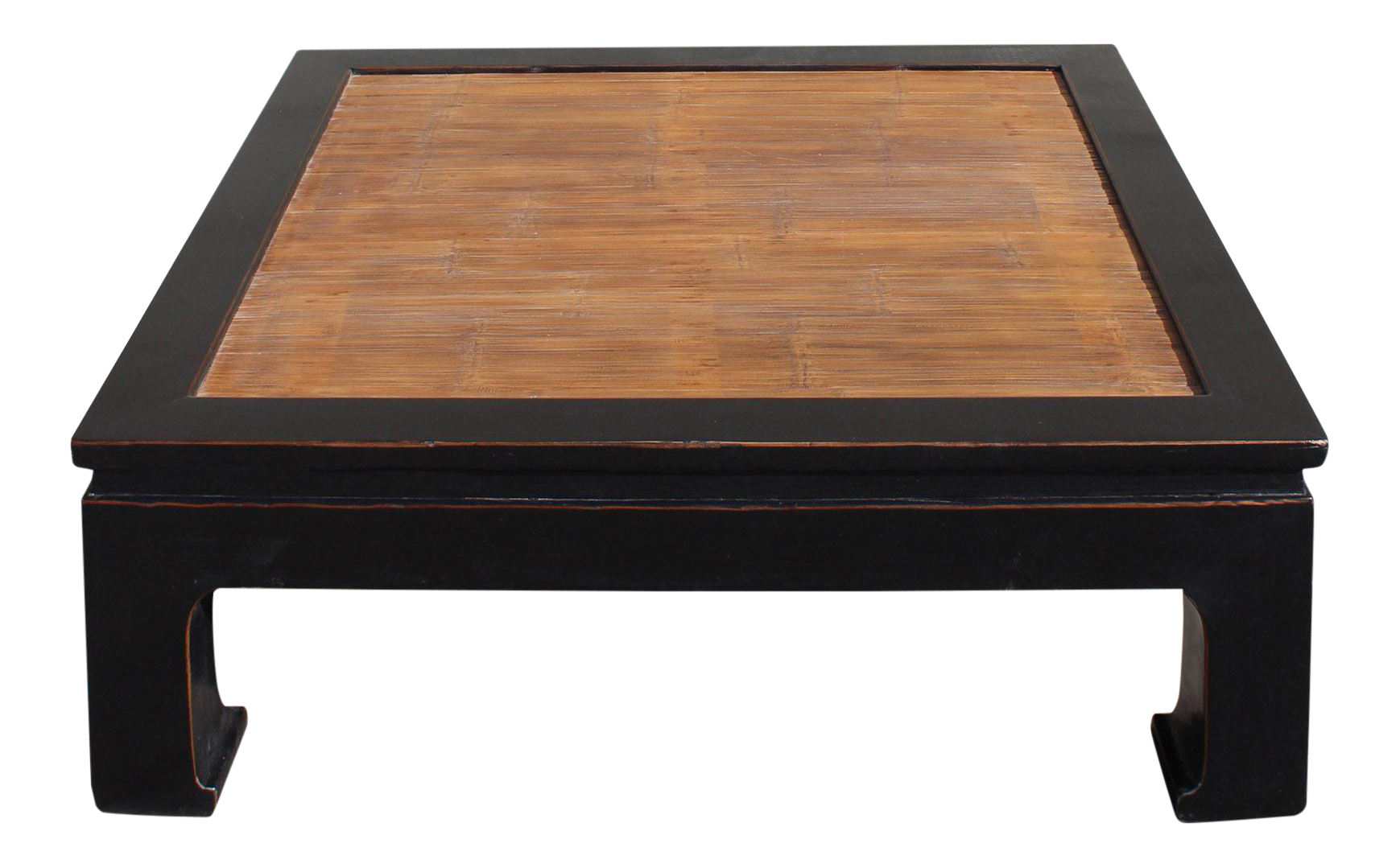 Black Lacquer Brown Bamboo Strip Top Square Curved Legs Coffee Table