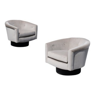 Swivel Tub Chairs in Clay & Noir Velvet - a Pair For Sale