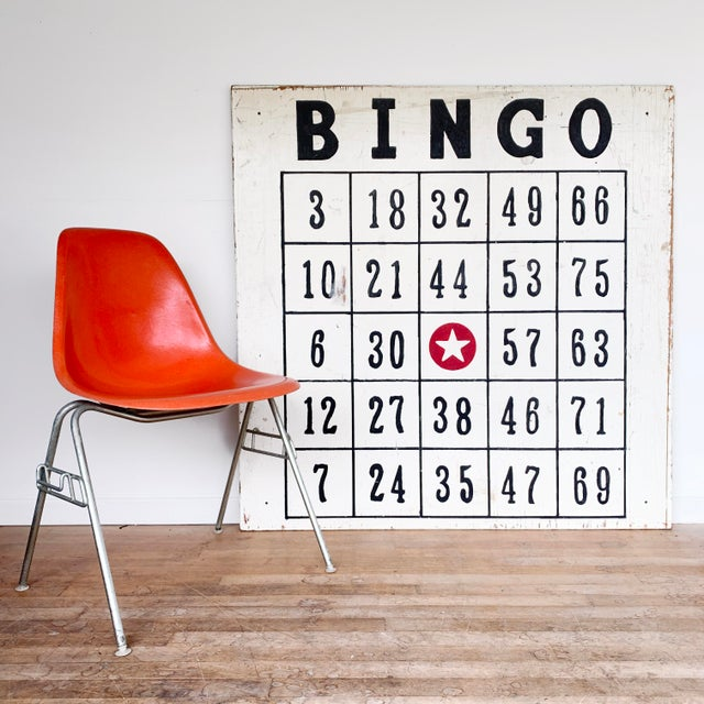 "Folk Art Vintage 48"" / 4 Ft Wood Distressed Hand Painted Bingo Card Sign For Sale - Image 3 of 6"
