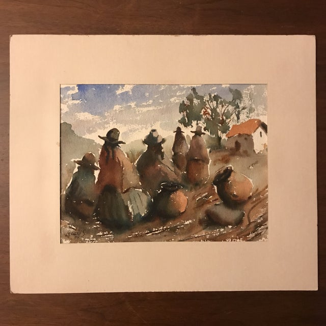 Gorgeous watercolor painting by Native Peruvian artist Hugo Lecaros, signed by the artist, both on the front and back. The...
