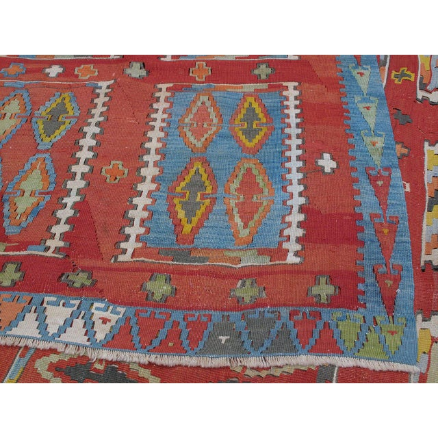 Blue Very Large and Exceptional Antique Sivas Kilim For Sale - Image 8 of 10