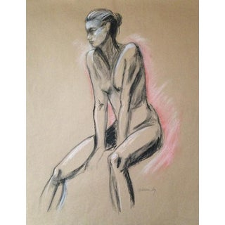 Female Figure on Kraft With Pink Original Drawing For Sale