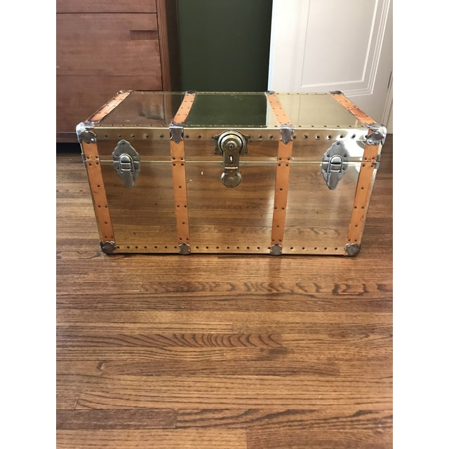 Vintage Brass Trunk With Leather Strapping For Sale - Image 10 of 10