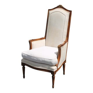Vintage French Tall Back Arm Chair For Sale