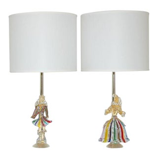 Vintage Murano Figurine Table Lamps Rainbow For Sale