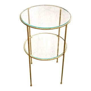 Mid Century Faux Bois Gilt Metal Side Table