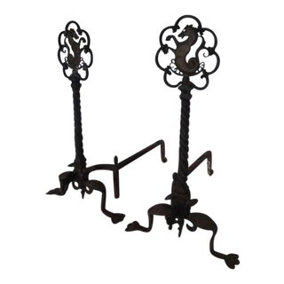 Oscar Bach Sea Horse Andirons - a Pair For Sale