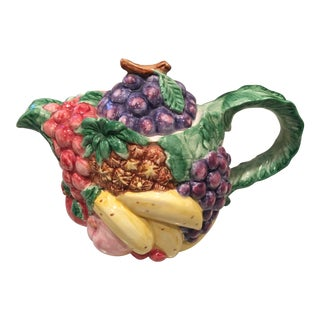 1980s Art Nouveau Fitz and Floyd Tropical Fruit Pottery Tea Pot For Sale