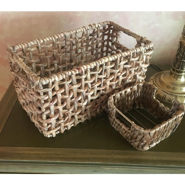 Woven Sea Grass Baskets - Pair - Image 3 of 8