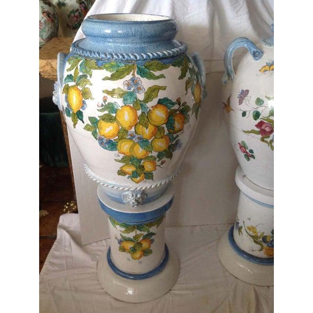 """Pair"" of Massive Glazed Terra Cotta Urns on Pedestals For Sale - Image 4 of 13"