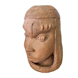 "Rare & Lg Ife Clay / Terracotta Oba Head Edo People Nigeria African 12.5"" H Preview"