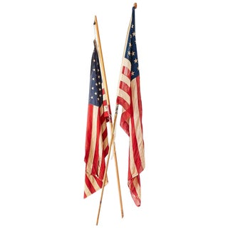 Pair of Midcentury Folk Art American Flags on Poles For Sale