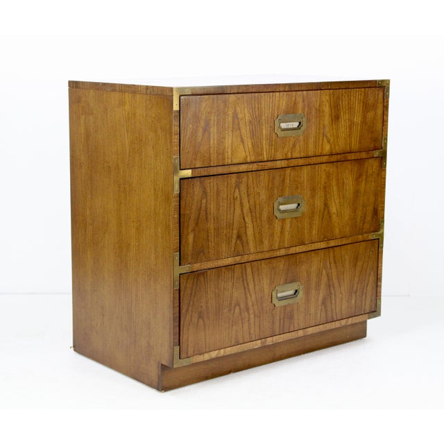 Campaign Campaign Style 3-Drawers Walnut Commode For Sale - Image 3 of 5