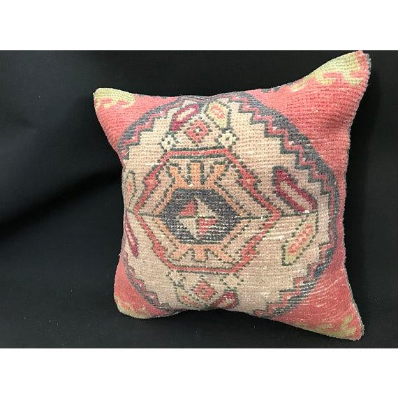 1960's Turkish Tribal Handwoven Oushak Pillow For Sale - Image 10 of 11