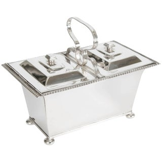 Silver Plate Double Tea Caddy C.1940 For Sale