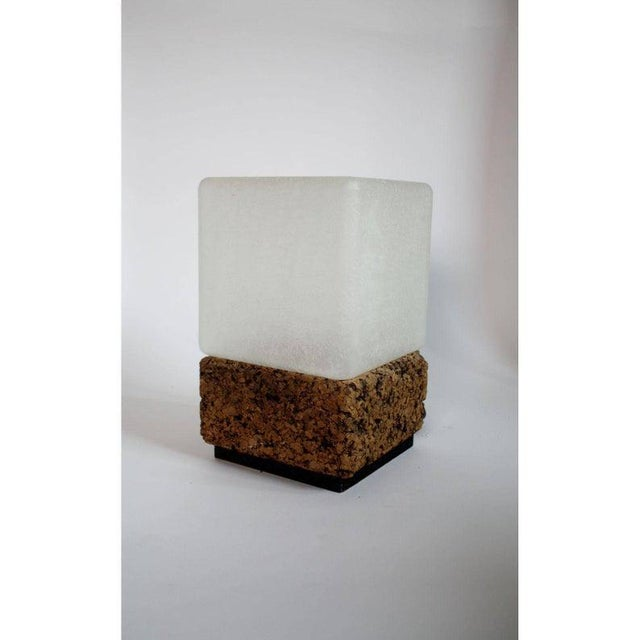 Final Markdown- 1970s Vintage Modern Cube Cork & Glass Shade Table Lamp For Sale - Image 6 of 6