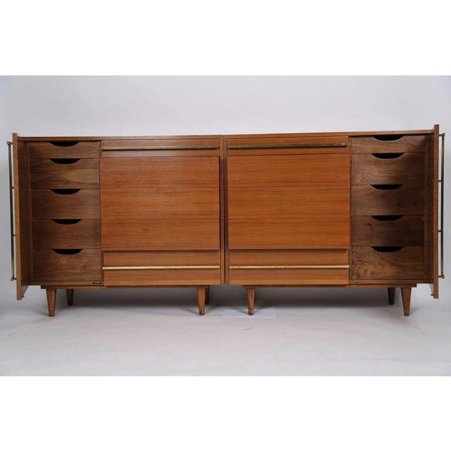Bertha Schaefer. Italian walnut matched custom cabinets with 20 drawers (10 drawers in each cabinet) Highly figured...