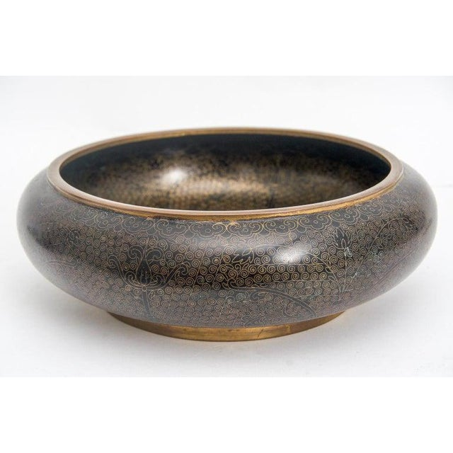 1920s 1920s Vintage China Republic Period Black and Copper Filigree Cloisonne Bowl For Sale - Image 5 of 5