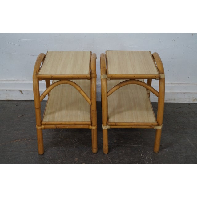 Vintage Vogue Rattan 2 Tier Side Tables - a Pair For Sale - Image 4 of 10