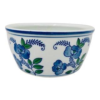 Vintage Blue & Green Floral Jardiniere Cache Pot Planter Vase For Sale