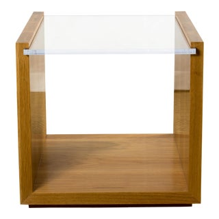 Contemporary Oak and Lucite Side Table For Sale