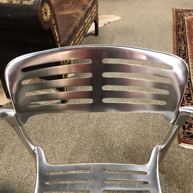 6 Signed Jorge Pensi Vintage Metal Toledo Chairs For Sale - Image 9 of 11